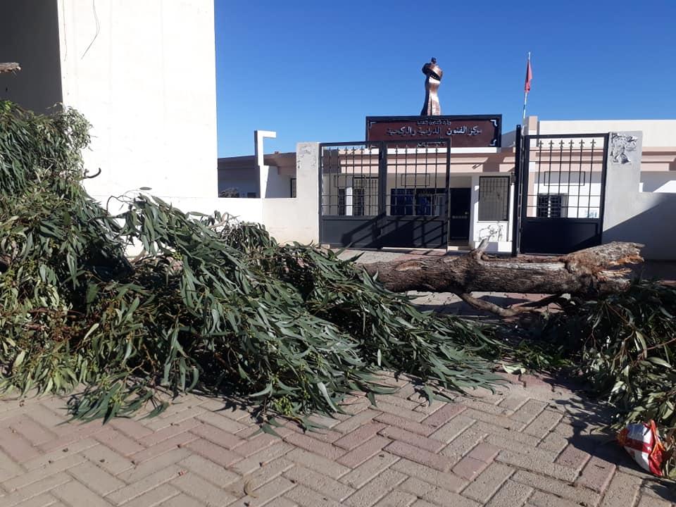 بسبب ركام الاشجار: اغلاق تام لمدخل مركز الفنون الركحية والدرامية بالقصرين